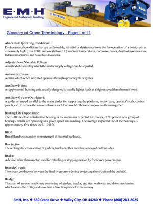 EMH Glossary of Crane Terminology